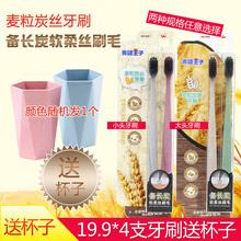 [jinyinban]青蛙王子麦粒炭素牙刷小麦