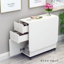 简约现ji(小)户型伸缩ao桌长方形移动厨房储物柜简易饭桌椅组合