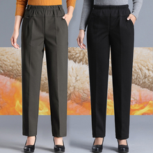 羊羔绒ji妈裤子女裤ka松加绒外穿奶奶裤中老年的大码女装棉裤