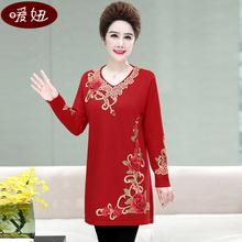 中老年女秋冬装加ji5加大码毛tb服妈妈装中长式针织连衣裙