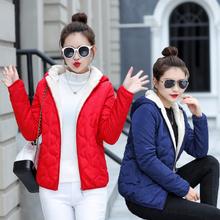 韩款棉ji女短式20wo式女士(小)棉袄女短式轻薄棉服时尚羊羔毛外套