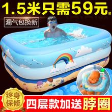加厚儿ji游泳池家用wo幼儿家庭充气泳池超大号(小)孩洗澡戏水桶