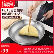304ji锈钢无涂层wo底煎锅炒锅五层复合底牛排煎锅煎蛋