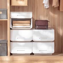 日本翻ji收纳箱家用zb整理箱塑料叠加衣物玩具整理盒子储物箱