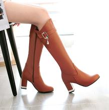 202ji新式高靴骑zb长靴秋冬季靴子长筒靴女鞋高跟鞋粗跟及膝靴