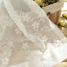 田园卧室jj1厅刺绣窗qr白色纱帘白沙罗马帘 成品白纱窗帘纷