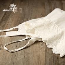 包邮6jj53森林系zs丝边内搭米白色吊带裙刺绣打底裙森女连衣裙