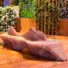 商场座jk创意木质个zh切片艺术不锈钢休息椅子等候椅休闲座椅