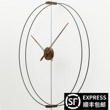 家用艺jl静音创意轻l0牙极简样板间客厅实木超大指针挂钟表