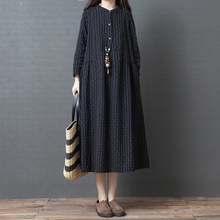 秋季新jl2020韩l0大码女装棉麻条纹衬衫裙中长式连衣裙女长袖