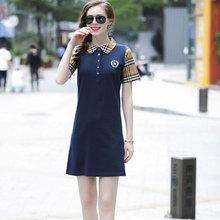 欧洲站jm019夏季td尚修身冰丝棉针织短袖POLO衫女连衣裙欧货潮