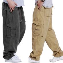 工作裤男裤子休jn4裤男加肥lp口袋肥佬裤宽松工装裤户外胖子