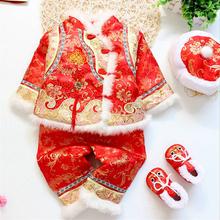 女宝宝jn装冬中国风lp新年装唐装女童百天周岁服0-1-2-3岁红
