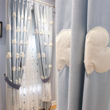 白云朵jo蓝色韩式清so卧室遮光布纱帘飘窗少女公主
