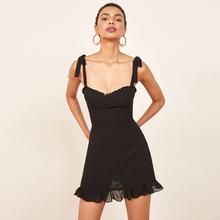 法式复jo黑色显瘦宽ll蝶结肩带连衣裙子(小)众reformaTion短裙