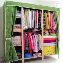 布衣柜jo易实木组装ne纳挂衣橱加厚木质柜原木经济型双的大号