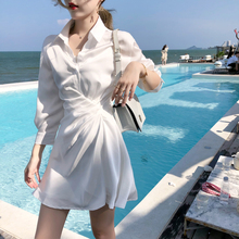 ByYjou 201nm收腰白色连衣裙显瘦缎面雪纺衬衫裙 含内搭吊带裙
