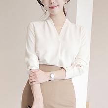 雪纺衬jo女长袖20nm装新式韩范夏季职业百搭宽松上衣V领白衬衣