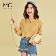 mc2jo式格子春装ny衫女复古港味设计感显瘦韩范上衣洋气打底