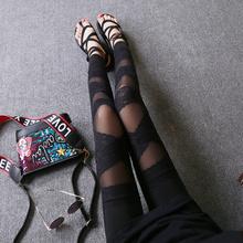 绑带蕾jo网纱拼接九ny穿薄式时尚百搭黑色个性打底裤女韩款潮