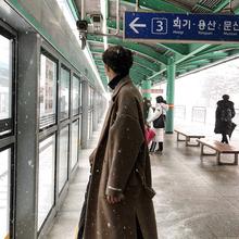 冬季新jo0韩款呢大ie式宽松毛呢加厚情侣风衣呢子外套潮外衣