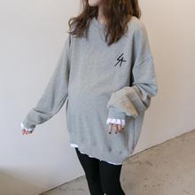 孕妇Tjo中长式春装ie020秋式时尚休闲纯棉宽松假两件卫衣潮妈