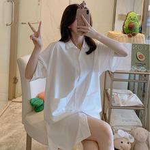 睡裙女jo0季性感薄ow友风白衬衫长式家居服春秋情调衣的睡衣
