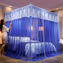 蚊帐公jp风家用18mg廷三开门落地支架2米15床纱床幔加密加厚