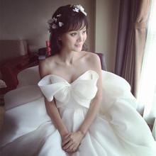202jp新式婚纱礼ob新娘出门纱孕妇高腰齐地抹胸大蝴蝶结蓬蓬裙