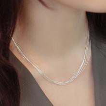 [jpzq]日韩国S925纯银多层细项链女士