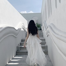 Swejrthearqp丝梦游仙境新式超仙女白色长裙大裙摆吊带连衣裙夏