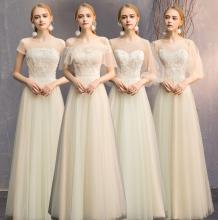 仙气质jr021新式qp礼服显瘦遮肉伴娘团姐妹裙香槟色礼服