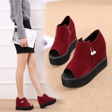新款时尚坡跟鱼嘴鞋酒红色js9钻凉鞋女ah跟舒适松糕厚底凉靴