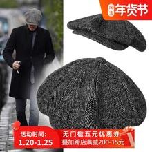 复古帽js英伦帽报童ah头帽子男士加大 加深八角帽秋冬帽