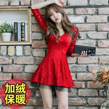 202js秋季冬性感ah显瘦收腰气质加绒蕾丝大红色长袖连衣裙短裙