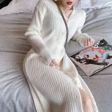 加厚其js0女装白色dt洋气修身内搭打底裙长式针织开衫连衣裙