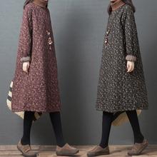 秋冬季js式大码女装kg加夹棉加厚高领(小)碎花中长式棉麻连衣裙