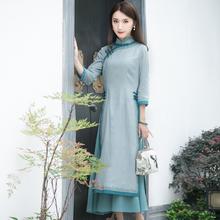如意风js旗袍改良款kg棉麻复古文艺奥黛中长式国风民族风女装