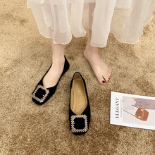 豆豆鞋js春季202kg时尚方头单鞋女士平底瓢鞋百搭软底工作鞋子