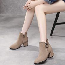 雪地意js康女鞋韩款kr靴女真皮马丁靴磨砂女靴中跟春秋单靴女