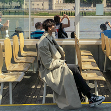 新式男js帅气风衣春gs款潮流大衣外套男过膝风衣男中长式薄式
