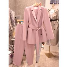 202js春季新式韩gschic正装双排扣腰带西装外套长裤两件套装女