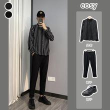 【套装】2js220新式jx纹长袖衬衣男士韩款修身衬衫春季发型师