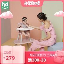 (小)龙哈ju餐椅多功能lb饭桌分体式桌椅两用宝宝蘑菇餐椅LY266