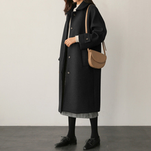 毛呢大ju2020年lb士气质黑色过膝中长式秋冬装(小)个子呢子外套