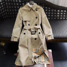 十四姐ju欧货高端2un秋女装新式全棉双排扣风衣英伦外套条纹防水
