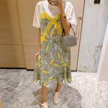 Pinju Daisit国东大门2020年新式夏天宽松黄色碎花假两件连衣裙