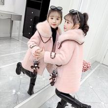女童毛ju外套秋冬2th新式加厚洋气水貂绒冬装(小)女孩呢子宝宝大衣