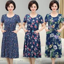 夏季中ju年的裙子女th绸妈妈摆裙夏天中年薄式大码全棉连衣裙
