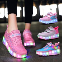 带闪灯ju童双轮暴走om可充电led发光有轮子的女童鞋子亲子鞋